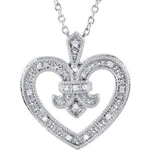 "Sterling Silver .06 CTW Diamond Heart 18"" Necklace"