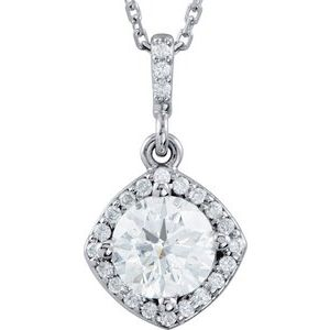 "14K White 3/8 CTW Diamond Halo-Style 18"" Necklace"