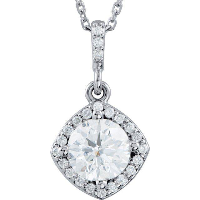 14K White 3/8 CTW Diamond Halo-Style 18