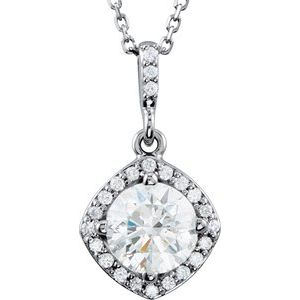 "14K White 1 CTW Diamond Halo-Style 18"" Necklace"
