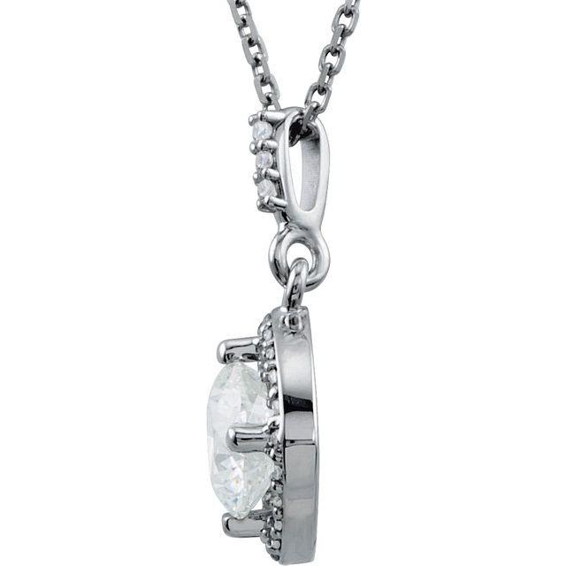 14K White 1 CTW Diamond Halo-Style 18