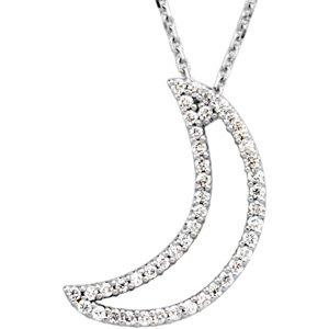 "14K White 1/5 CTW Diamond Crescent Moon 16"" Necklace"