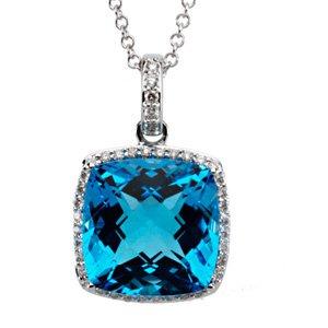 """14K White Swiss Blue Topaz & 1/4 CTW Diamond 18"""" Necklace"""