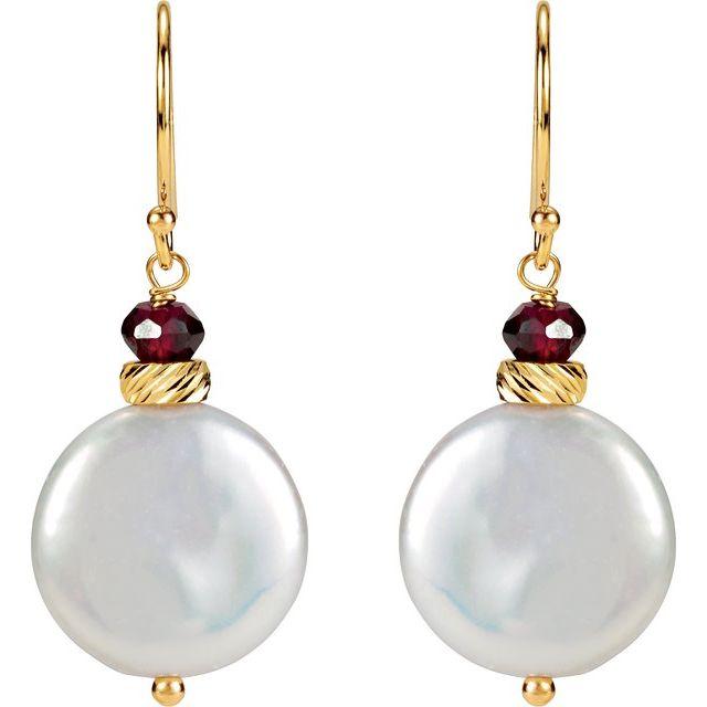14K Yellow Freshwater Cultured Coin Pearl & Rhodolite Garnet Earrings