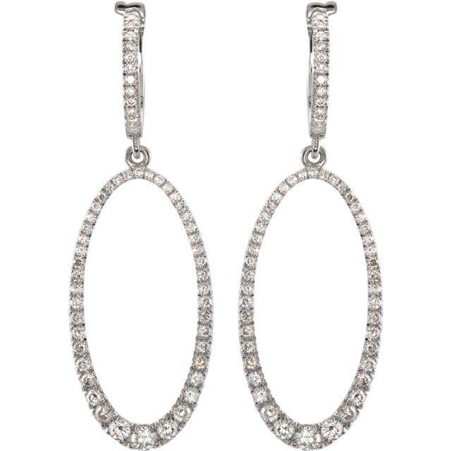 14K White 1 1/4 CTW Diamond Oval Silhouette Earrings