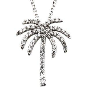 "14K White 1/4 CTW Diamond Palm Tree 16"" Necklace"