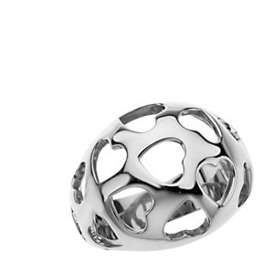 Sterling Silver Fashion Dome Ring with Hearts