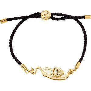 "18K Yellow Vermeil Panther Symbol for Courage Black Satin 8"" Bracelet"