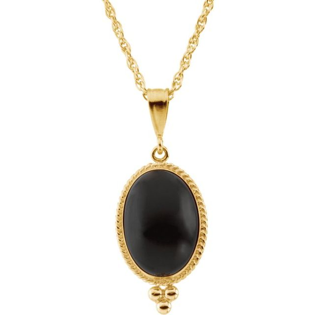 """14K Yellow Onyx Rope Design 18"""" Necklace"""