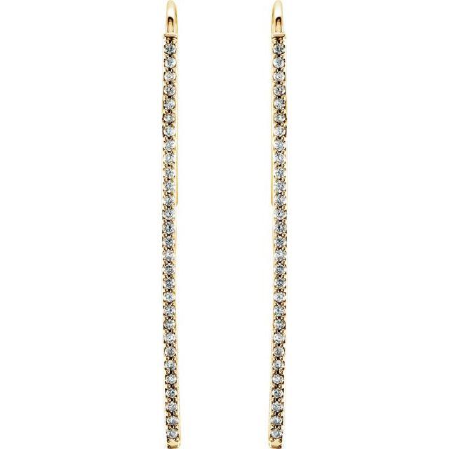 14K Yellow 1/4 CTW Natural Diamond Vertical Bar Earrings