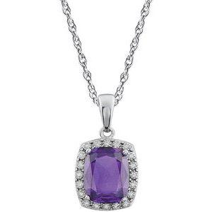 "14K White Amethyst & .05 CTW Diamond 18"" Necklace"