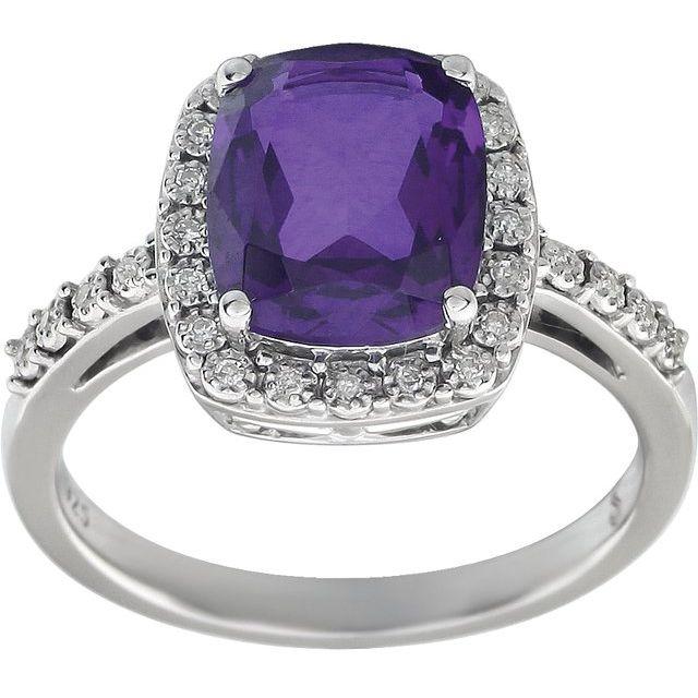 14K White Amethyst & .07 CTW Diamond Ring