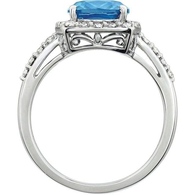 14K White Swiss Blue Topaz & .07 CTW Diamond Ring