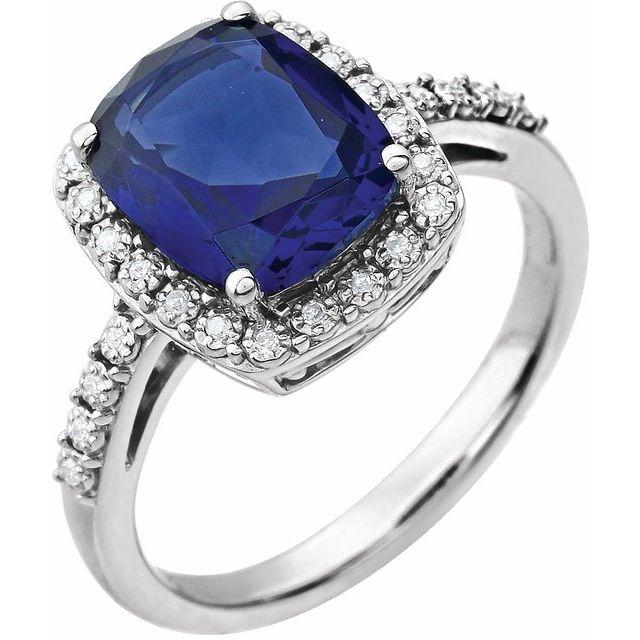 14K White Created Blue Sapphire & .07 CTW Diamond Ring