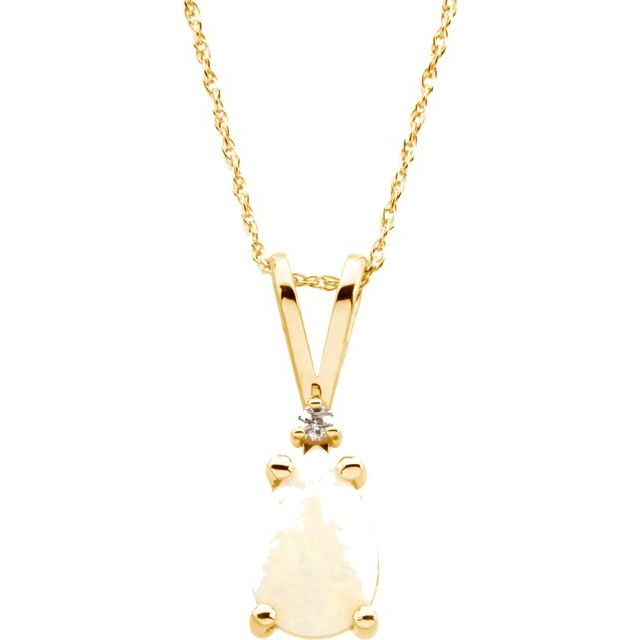 14K Yellow 9x6 mm Pear Opal & .02 CT Diamond 18