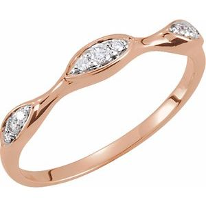 14K Rose Rhodium Plated 1/10 CTW Diamond Stackable Ring