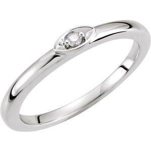 14K White .025 CTW Diamond Stackable Ring