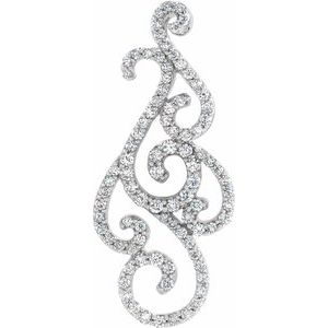 14K White 3/4 CTW Diamond Pendant