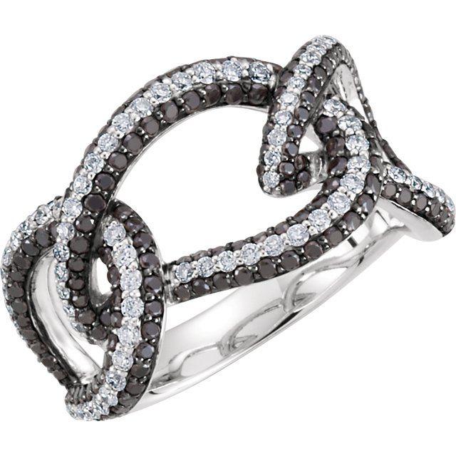 14K White 1 5/8 CTW Black & White Diamond Interlocking Ring