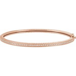 14K Rose 1/3 CTW Diamond Bangle Bracelet