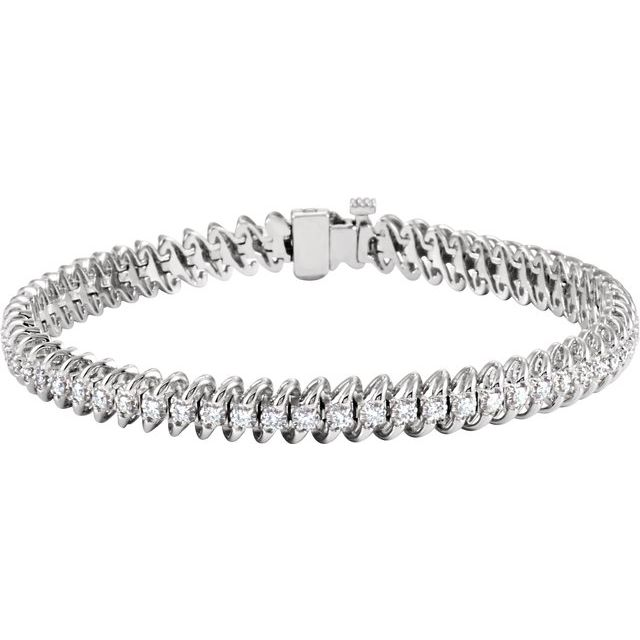 "14K White 1 1/5 CTW Diamond Line 71/4"" Bracelet"