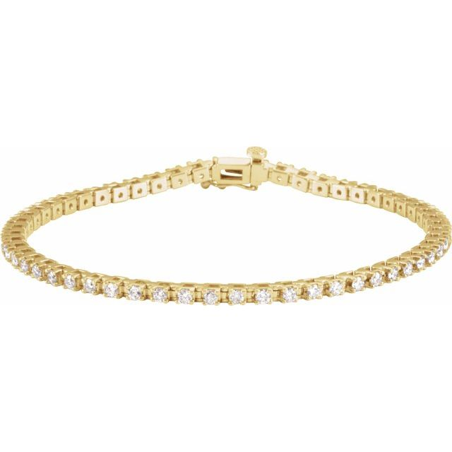 "14K Yellow 2 1/4 CTW Lab-Grown Diamond Line 7 1/4"" Bracelet"