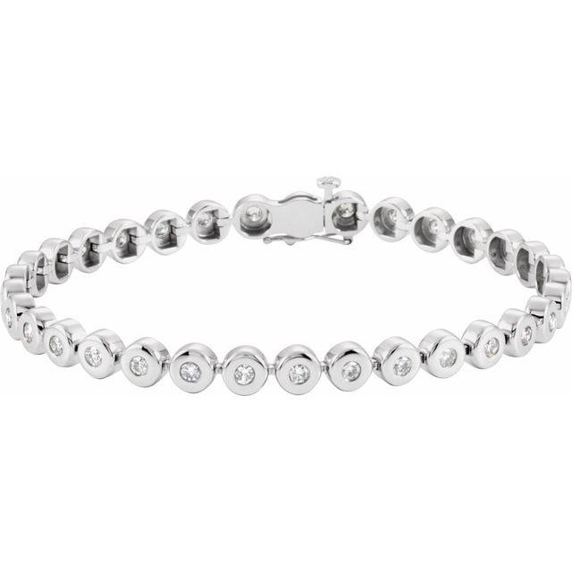 """14K White 2 CTW Diamond Bezel-Set Line 7"""" Bracelet"""