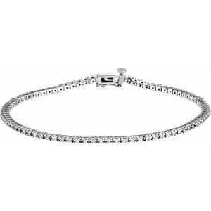 "14K White 7/8 CTW Diamond Line 7 1/4"" Bracelet"
