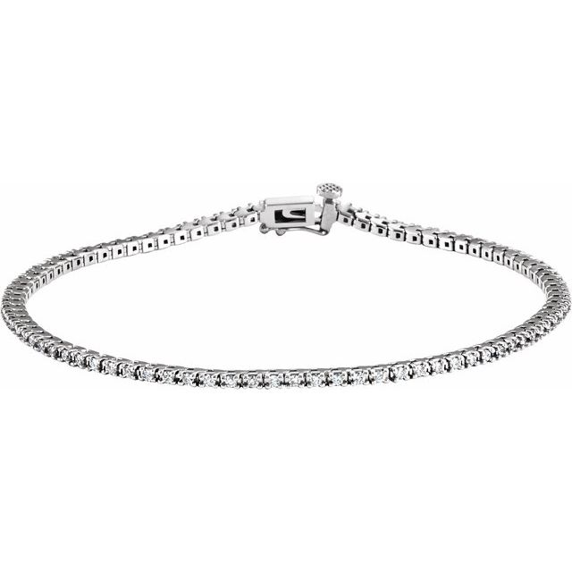 "14K White 7/8 CTW Diamond Line 7 1/4"" Bracelet"