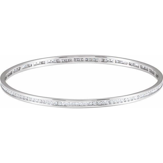 "14K White  1 1/2 CTW Diamond Stackable Bangle 8"" Bracelet"
