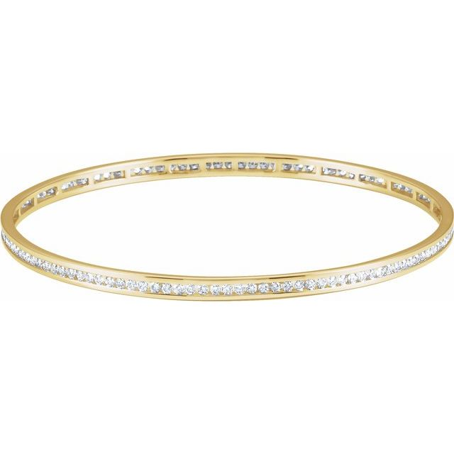 "14K Yellow  1 1/2 CTW Diamond Stackable Bangle 8"" Bracelet"