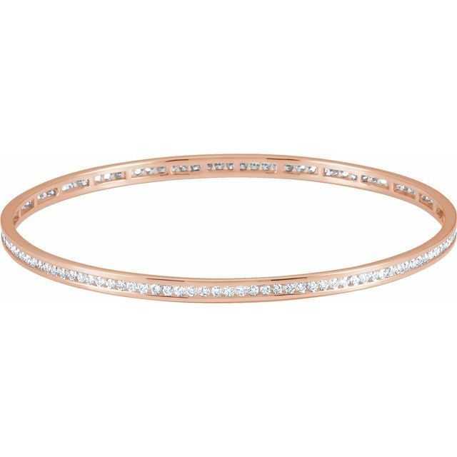 "14K Rose 2 1/4 CTW Diamond Stackable Bangle 8"" Bracelet"