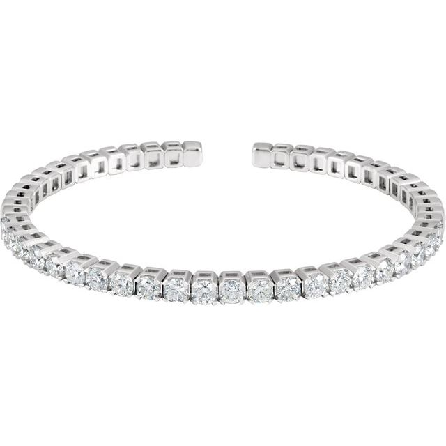 14K White 3 1/3 CTW Diamond Bangle Bracelet