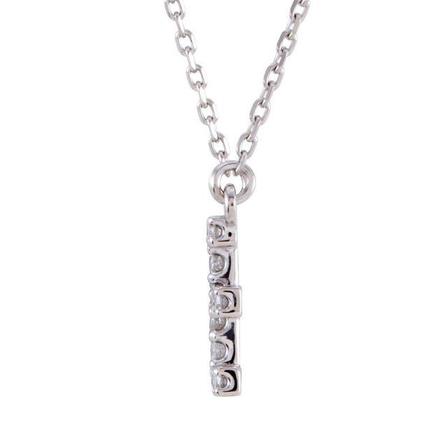 14K White Initial E 1/8 CTW Diamond 16