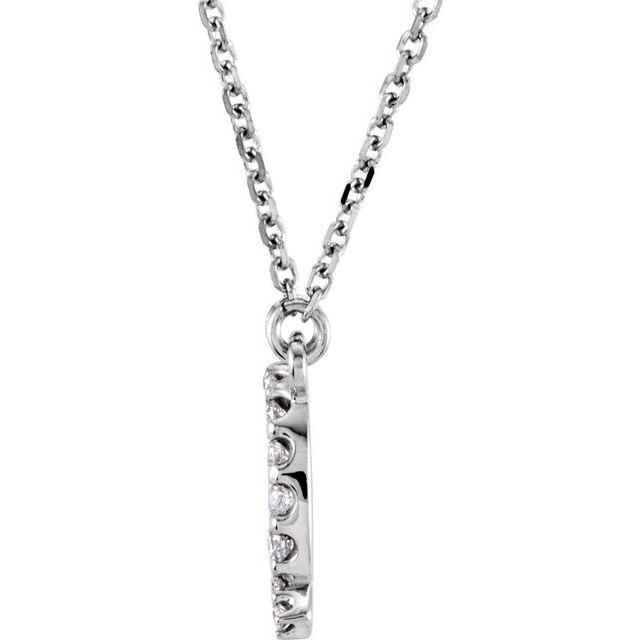 14K White Initial Q 1/8 CTW Diamond 16