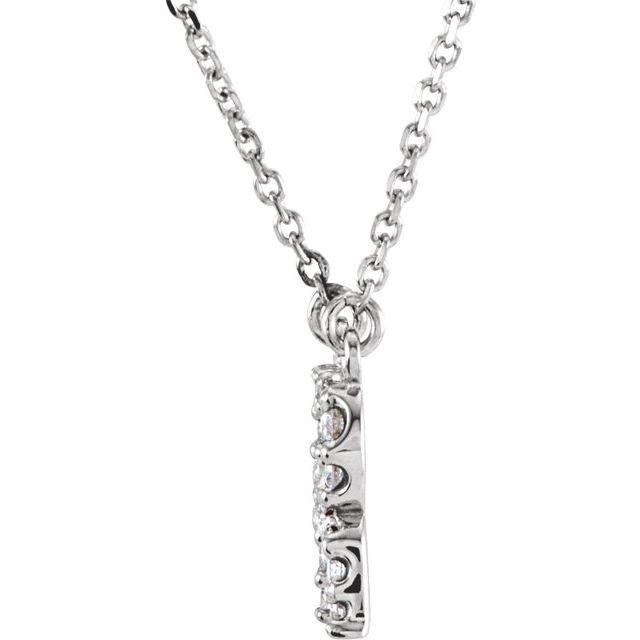 14K White Initial R 1/8 CTW Diamond 16