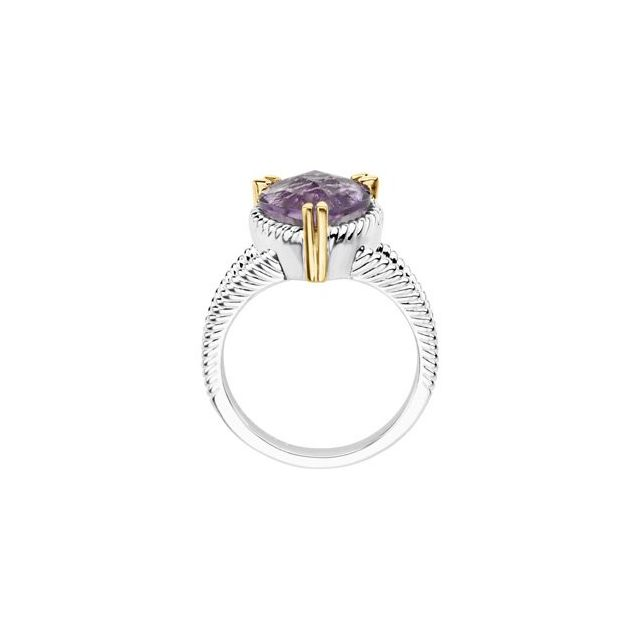 Sterling Silver & 14K Yellow Amethyst Heart Ring