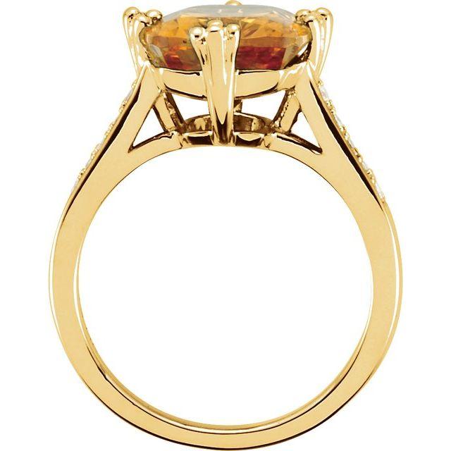 14K Yellow Citrine & .08 CTW Diamond Ring