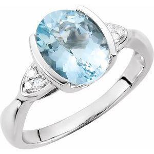 Accented Half Bezel Ring