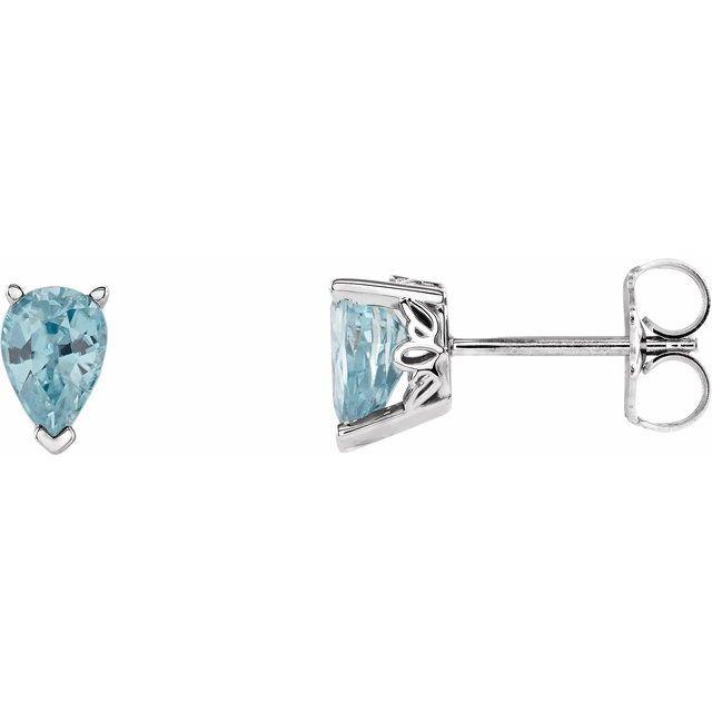 14K White Genuine Blue Zircon Earrings