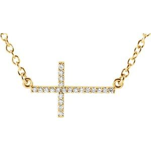 "14K Yellow 1/10 CTW Diamond Sideways Cross 16-18"" Necklace"