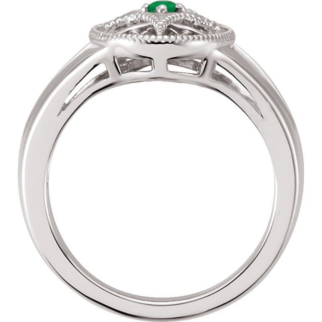 Sterling Silver Emerald Granulated Filigree Ring Size 5