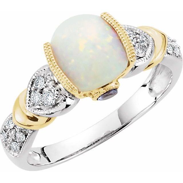 14K White & Yellow Opal, Tanzanite & 1/6 CTW Diamond Ring
