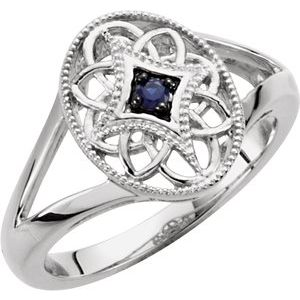 Sterling Silver Blue Sapphire Granulated Filigree Ring Size 6