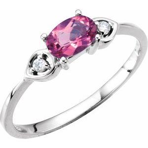 14K White Pink Tourmaline & .03 CTW Diamond Ring