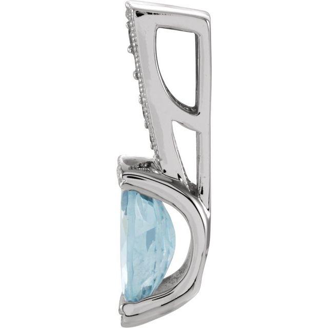 14K White Aquamarine & .05 CTW Diamond Pendant