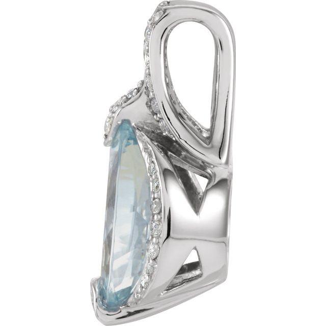 14K White Aquamarine & 1/5 CTW Diamond Pendant