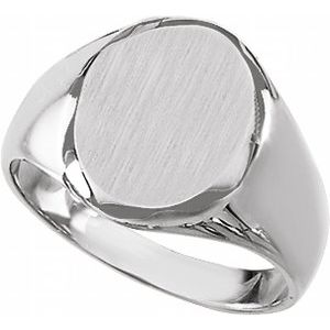 Sterling Silver 14.6x12.1 mm Oval Signet Ring