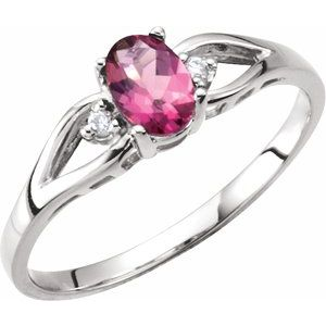 Pink Tourmaline & Diamond Accented Ring