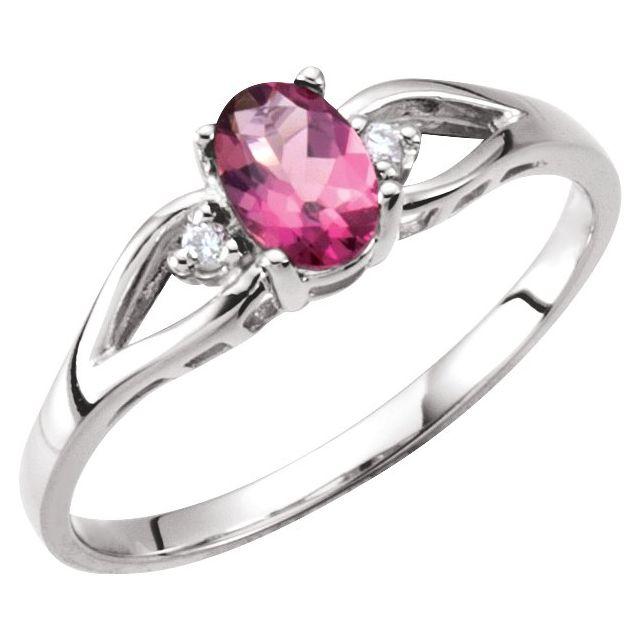 Pink Tourmaline & Diamond Accented Ring